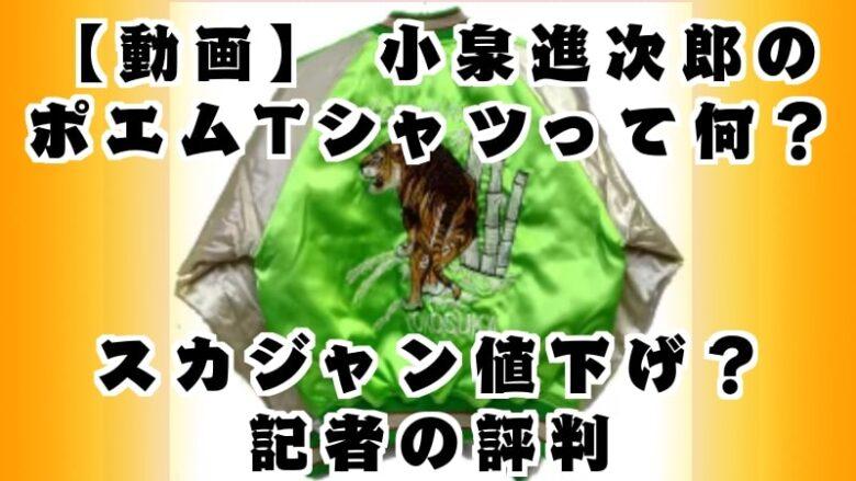 koizumishinjiro-poem-t-shirt-what-minister of the environment-sukajan-price-price cut-reporter's reputation